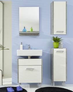 Badezimmer Splash Badmöbel Set 4 teilig weiß mit Industrie Beton grau 100 x 185 cm