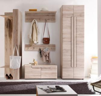 Garderobenset Flurmöbel Set Garderobe Malea 5-teilig Eiche San Remo hell tiefgezogen 238 x 191 x 38 cm
