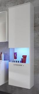 Badezimmer Hängeschrank Sky Hochglanz weiß 40 x 165 cm Panoramavitrine Türanschlag rechts