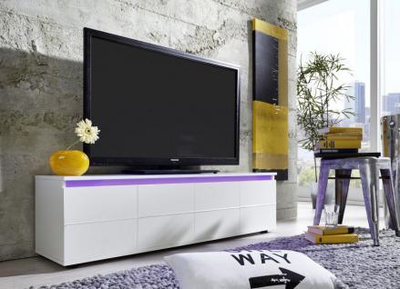 TV Board Rocket weiß glänzend mit RGB LED Beleuchtung 140 x 38 cm