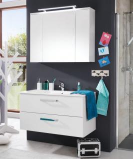Badezimmer Badmöbel Set 3-teilig weiß Hochglanz mit Waschbecken 100 cm Adamo