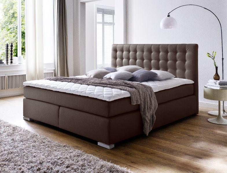 boxspringbett isabelle 180 x 200 cm leder optik braun. Black Bedroom Furniture Sets. Home Design Ideas