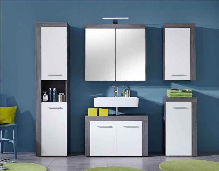 hochschrank miami badezimmer schrank sardegna rauchsilber grau mit wei 36 x 184 cm kaufen bei. Black Bedroom Furniture Sets. Home Design Ideas
