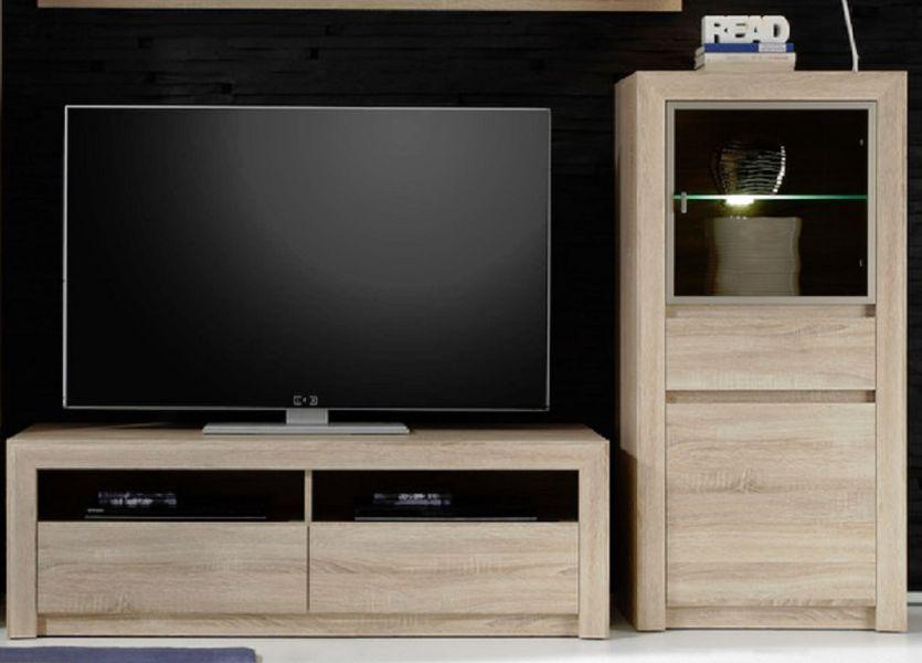 tv unterteil lowboard sevilla eiche sonoma hell mit schubk sten 140 x 46 cm kaufen bei oe. Black Bedroom Furniture Sets. Home Design Ideas