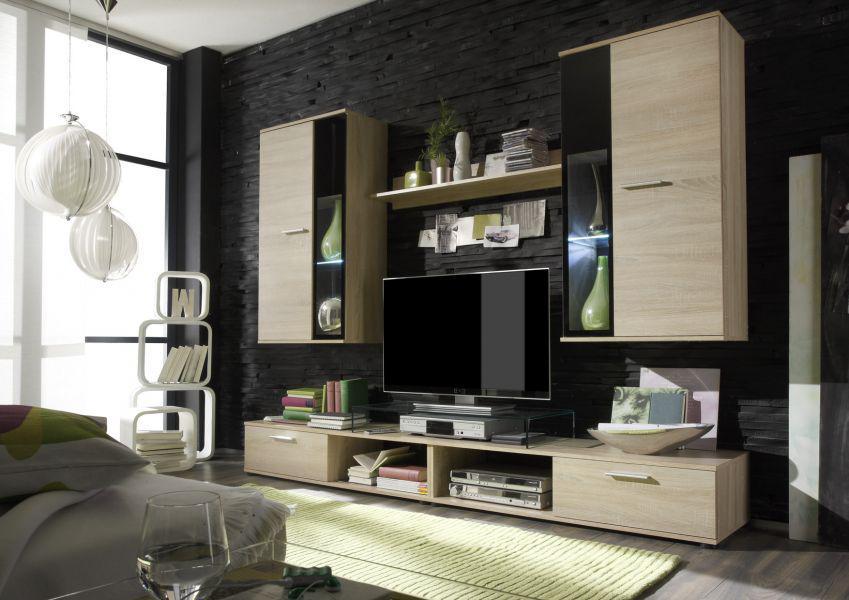 tv wand wohnwand salsa eiche s gerauh absetzungen schwarz mit led beleuchtung kaufen bei oe. Black Bedroom Furniture Sets. Home Design Ideas