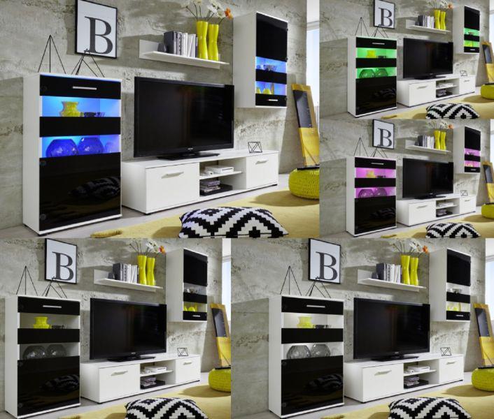 Wohnzimmer Anbauwand Tugor Wei Mit Schwarz Led Rgb Beleuchtung
