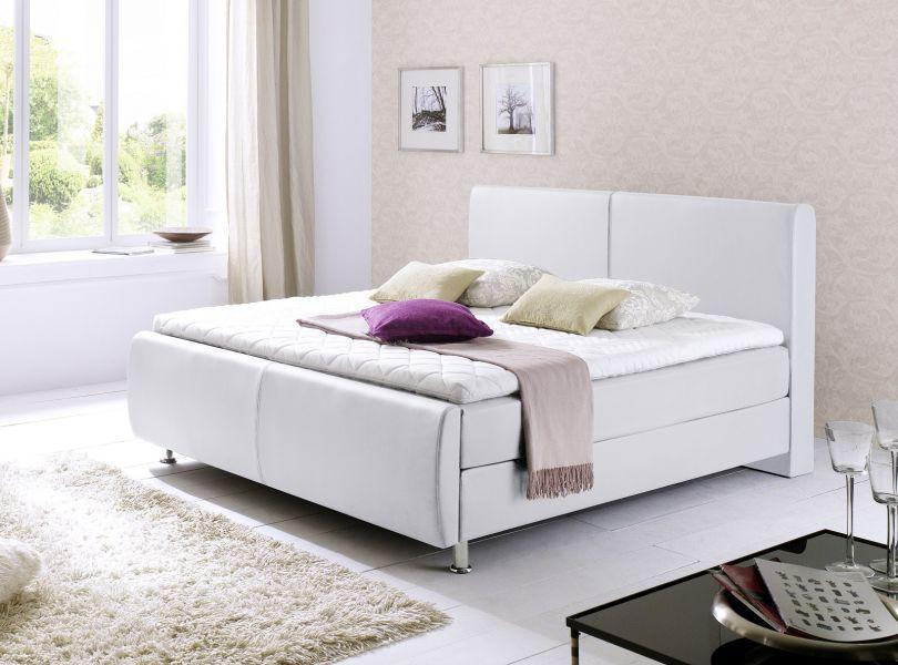 boxspringbett amondo 180 x 200 cm leder optik wei 7 zonen. Black Bedroom Furniture Sets. Home Design Ideas