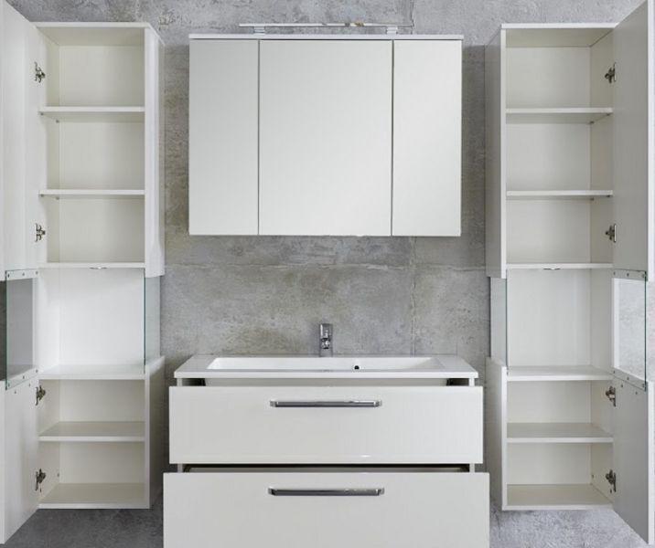 badezimmer badm bel set sky h ngend hochglanz wei 6 teilig mit waschbecken led beleuchtung. Black Bedroom Furniture Sets. Home Design Ideas