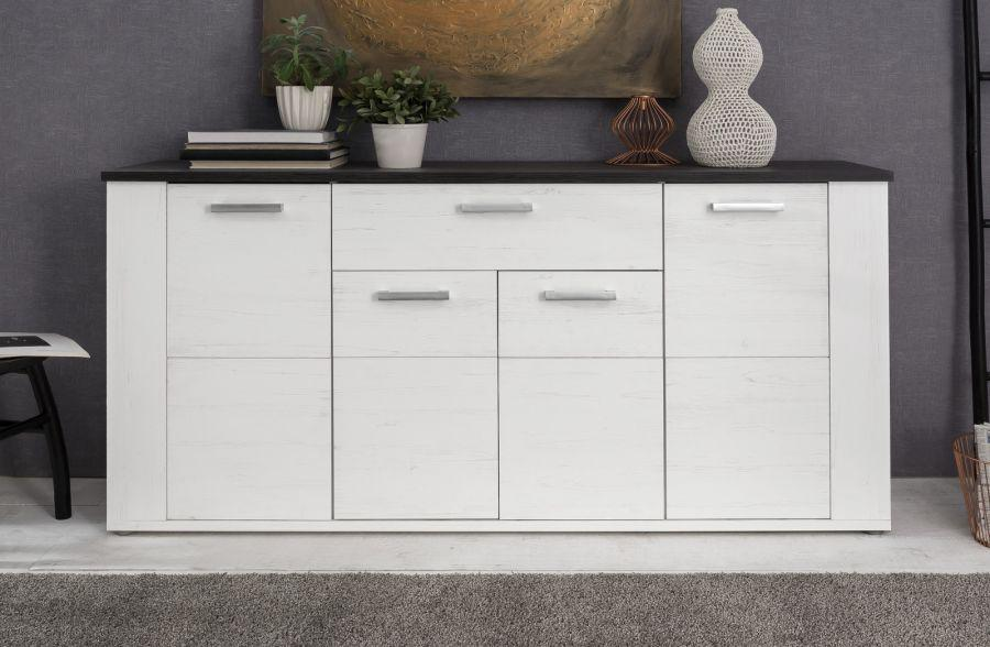 sideboard anrichte dakota pinie wei mit touchwood dunkel. Black Bedroom Furniture Sets. Home Design Ideas