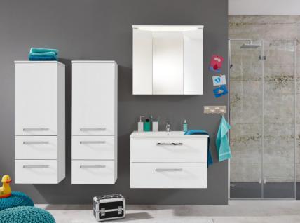 Badmöbel komplett Set 5-teilig weiß Hochglanz inkl. Waschbecken und Beleuchtung Adamo