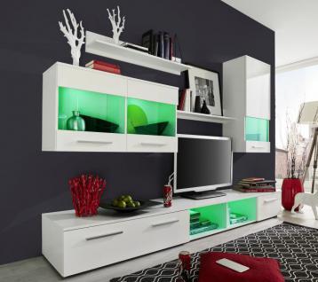 Anbauwand Wohnwand Nora weiß Glanz LED Beleuchtung / diverse Stellvarianten B 250 cm