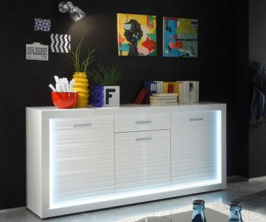 Sideboard Kommode Starlight weiß Hochglanz mit Rillenoptik inklusive LED-Beleuchtung