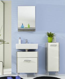 Badezimmer Splash Badmöbel Set 3 teilig weiß mit Industrie Beton grau 100 x 185 cm