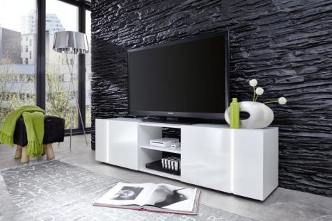 TV Board Disco weiß Glanz mit RGB LED-Beleuchtung 160 cm