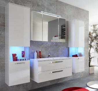 Badezimmer Badmöbel Set Sky hängend Hochglanz weiß 5-teilig mit Waschbecken