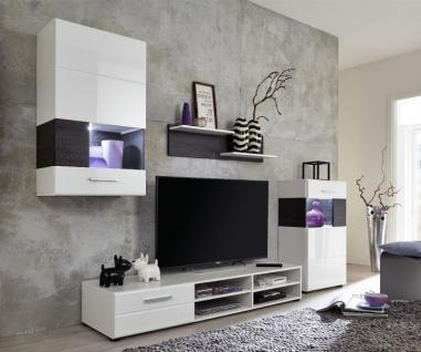 Wohnwand Anbauwand Rosalie weiß Hochglanz mit Pinie braun LED Beleuchtung 232 x 173 cm