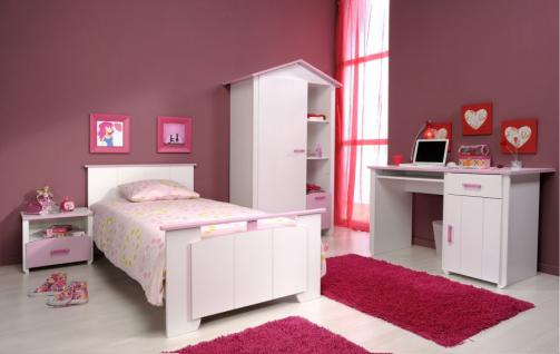 kinderzimmer biotiful m dchenzimmer 4 teilig wei und rosa bett schrank schreibtisch konsole. Black Bedroom Furniture Sets. Home Design Ideas