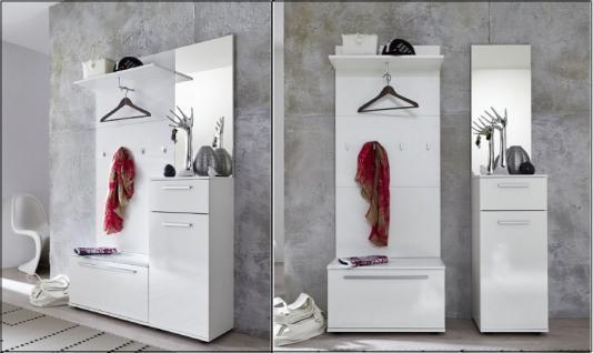 Garderoben Set Modul 4-teilig weiß glänzend 110 x 183 cm