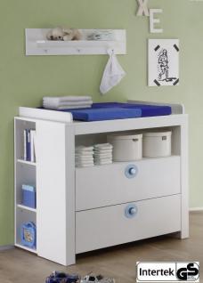 Babyzimmer Wickelkommode Olivia Set 3 tlg. mit 2 Regalen weiß mit blau 96 x 102 x 76 cm