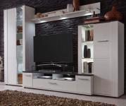 Wohnwand Dakota Pinie weiß mit Touchwood braun 4-teilig 240 x 170 cm mit LED Beleuchtung
