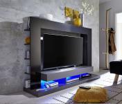 Wohnwand Medienwand Cyneplex schwarz grau glänzend 164 x 124 cm LED Beleuchtung