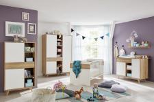 Babyzimmer komplett Set Boston in weiß und Eiche Riviera Honig 5-teilig