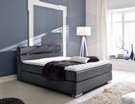 Boxspringbett Onella 180 x 200 cm Leder Optik schwarz Taschenfederkern Matratze