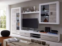 Wohnwand Anbauwand Boom Eiche sand und Pinie weiß mit LED Beleuchtung 305 x 209 cm