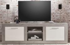 Lowboard TV - Unterteil Pure Hochglanz weiß mit grau / Industrie Beton 210 x 68 cm