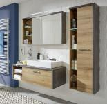 Badmöbel Set Bay Eiche Riviera Honig und Beton dunkel grau Design 3-teilig 186 cm
