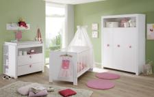 Babyzimmer Set Olivia komplett weiß 5-teilig inkl. Applikationen in rosa