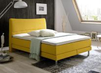 Boxspringbett Hotelbett Culture gelb 140 x 200 cm Mini Bonell + 7 Zonen Tonnentaschenfederkern Matratze