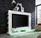 TV Unterteil Fernsehschrank Cyneplex weiss glänzend 164 x 124 cm LED Beleuchtung