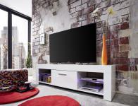 TV Schrank Lowboard Rom weiß glänzend mit Farbwechsel LED Beleuchtung 160 x 45 cm