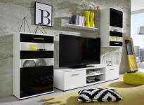 Wohnwand Anbauwand Tugor weiß mit schwarz LED RGB Beleuchtung 222 x 177 cm