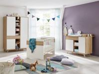 Babyzimmer komplett Set Boston in weiß und Eiche Riviera Honig 3-teilig