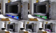 Medienwand TV-Unterteil Cyneplex schwarz grau glänzend 164 x 124 cm LED Farbwechsel Beleuchtung