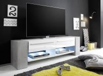 TV Lowboard TV-Unterteil Time Media Hochglanz weiß mit grau / Beton Optik 210 cm