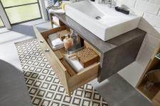 Waschplatz Set Bay Waschbeckenunterschrank und Waschbecken Eiche Riviera Honig grau Beton Design