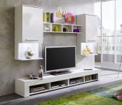 TV-Wand Fernsehwand Giselle weiß glänzend LED RGB Beleuchtung 210 x 169 cm