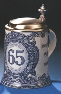 Porzellan Bierkrug 0, 5l Geburtstag 65 Jahre