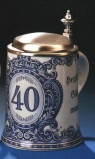 Porzellan Bierkrug 0, 5l Geburtstag 40 Jahre