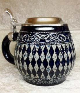 Keramik Bierkrug 0, 5l Bayerische Raute blau