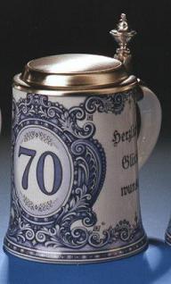 Porzellan Bierkrug 0, 5l Geburtstag 70 Jahre