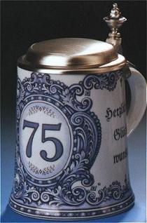 Porzellan Bierkrug 0, 5l Geburtstag 75 Jahre