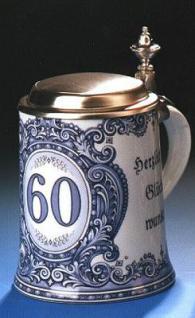 Porzellan Bierkrug 0, 5l Geburtstag 60 Jahre