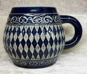 Keramik Bierkrug 0, 5l Bayerische Raute blau o.D.