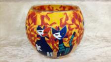 Leuchtglas 11cm Katzen