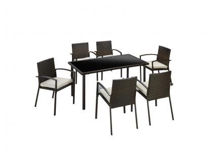 Gartengruppe Essgruppe Tisch Stühle Rattan inkl Auflagen braun 13tlg 7150302