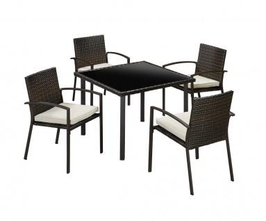Gartengruppe Essgruppe Tisch 90x90 Stühle Rattan inkl. Auflagen braun 7150303